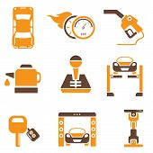 foto of denude  - set of 9 car parts and auto icons with brown and orange color theme - JPG