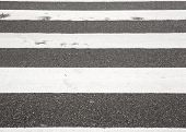 stock photo of zebra crossing  - Black and white zebra crossing on city street