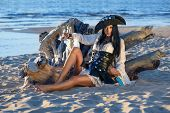 pic of pirate girl  - Portrait of a pirate woman at the beach - JPG