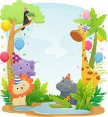 stock photo of safari hat  - Background Illustration Featuring Cute Safari Animals Wearing Party Hats - JPG