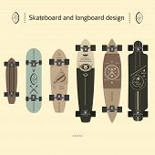 stock photo of skateboarding  - design options skateboard and longboard linear style - JPG