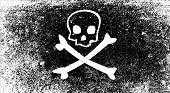 stock photo of skull crossbones flag  - A typical skull and crossbones pirate vesel flag - JPG