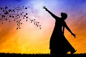 stock photo of eastern culture  - illustration of Woman dancing indian dance at sunset - JPG
