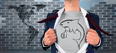 stock photo of loan-shark  - Businessman opening shirt in superhero style against world map doodle against wall - JPG