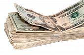 picture of twenty dollars  - Stack of American twenty dollar bills - JPG