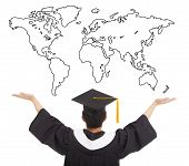 stock photo of open arms  - graduation student open arms to welcome the worldwide job - JPG