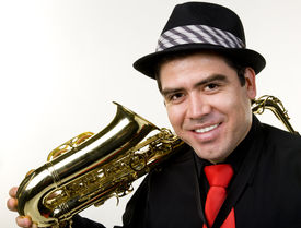 image of saxophone player  - A latino saxophone player with his 