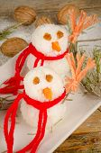 image of christmas meal  - Funny rice snowmen a kid meal for Christmas - JPG