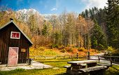 pic of italian alps  - Alpine hut with a bench in the italian alps - JPG