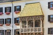 stock photo of emperor  - The Goldenes Dachl (Golden Roof) completed in 1500 with 2738 fire-gilded copper tiles for Emperor Maximilian I to mark his wedding to Bianca Maria Sforza in Innsbruck Austria.