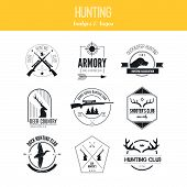 foto of duck-hunting  - Hunting club label collecton made in vector - JPG