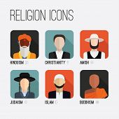 Постер, плакат: Religion People Icons