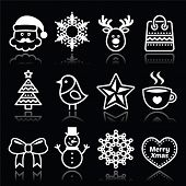 foto of rudolf  - Xmas vector icons set with stroke isolated on black - JPG