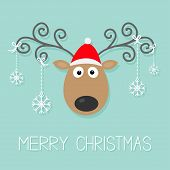 foto of deer horn  - Cute cartoon deer with curly horns red hat and hanging snowflakes - JPG