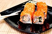 picture of masago  - Japanese rolls with masago caviar - JPG