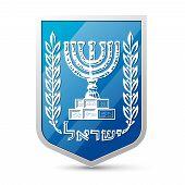 picture of israeli flag  - Emblem of Israel over white background - JPG