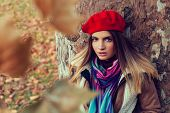 pic of beret  - Beautiful young women with a red beret - JPG