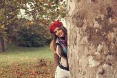 picture of beret  - Beautiful young women with a red beret - JPG