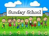 stock photo of pray  - Sunday School Banner Indicating Pray Spiritual And Kids - JPG