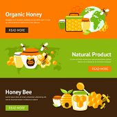 foto of honey bee hive  - Honey organic natural product drop comb bee hive and cell food agriculture flat banner set isolated vector illustration - JPG