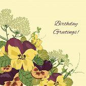 foto of viola  - Vintage flowers birthday greetings postcard background with pansy petunia viola vector illustration - JPG