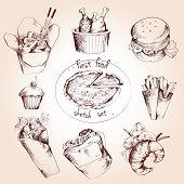 stock photo of spaghetti  - Fast food decorative sketch icons set of pizza spaghetti chicken hamburger isolated vector illustration - JPG