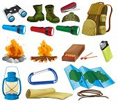 picture of boot camp  - Camping objects and equipment on white - JPG