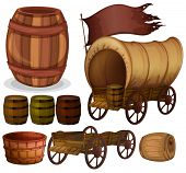 picture of wagon  - Western theme with wagons and barrels - JPG