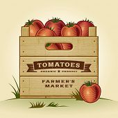 stock photo of crate  - Retro crate of tomatoes - JPG