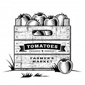 stock photo of crate  - Retro crate of tomatoes black and white - JPG