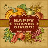 stock photo of happy thanksgiving  - Happy Thanksgiving Retro Card - JPG