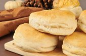 picture of buttermilk  - Fresh baked buttermilk biscuits on a holiday table - JPG
