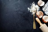pic of egg whites  - baking background with eggshell and rolling pin - JPG