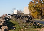 stock photo of artillery  - Union artillery looking over Gettysburg National Military Park - JPG