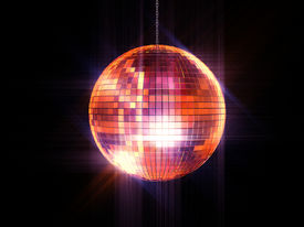 picture of ball chain  - Party disco mirrored ball on chain over black - JPG