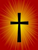 stock photo of repentance  - Silhouette of a cross on glowing red  - JPG