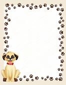 image of hound dog  - Dog paw prints border  - JPG