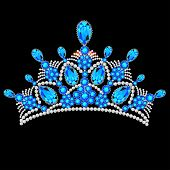 foto of tiara  - illustration crown tiara women with glittering precious stones - JPG
