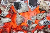 stock photo of ember  - Charcoal Embers Close - JPG