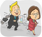 stock photo of persistence  - Illustration of a Persistent Insurance Agent Chasing After a Woman  - JPG