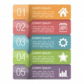 foto of text-box  - Infographics design template with five elements text boxes with numbers and icons - JPG