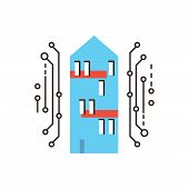 image of social housing  - Thin line icon with flat design element of smart home digital house internet connection future innovations housing communication - JPG