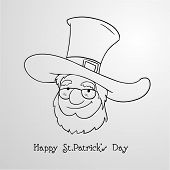 picture of leprechaun hat  - Black and white illustration of happy leprechaun in hat on grey background for St - JPG