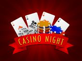 picture of dice  - Ace playing cards with stack of colorful Casino chips and dices on rays background - JPG