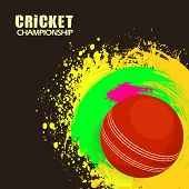 stock photo of cricket ball  - Cricket Championship concept with red ball on colorful splash background - JPG