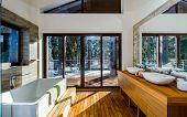 stock photo of windows doors  - Modern bathroom interior in sun light - JPG