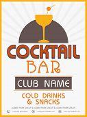 stock photo of cocktail menu  - Vinatge menu card design of Cocktail Bar for club - JPG