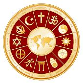 stock photo of khanda  - World Map with 12 global religions  - JPG