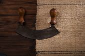 picture of chopper  - real vintage iron and wood herb chopper  on old grain sacking linen Completely hand made  handwoven and homespun - JPG