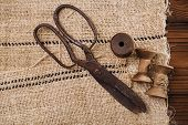 pic of scissors  - really antique iron scissors with spools on old grain sacking linen Completely hand made  handwoven and homespun - JPG